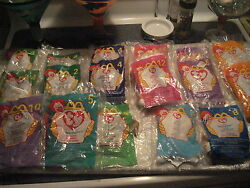 Giant Lot Of 17 Ty Beanie Babys Happy Meal Toys, Still In Packages Vintage