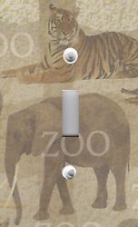 Light Switch Plate Switchplate And Outlet Covers Zoo Animals Elephant Tiger Lion