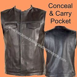 Leather Motorcycle Biker Club Outlaw Vest Conceal Carry Pocket Solid Piece Back