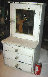 Antique Primitive Us Wood Toy Doll Cupboard Country Draw Door Shelf Mirror Frame