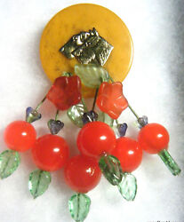 BAKELITE POKER CHIP Two Gold TERRIERS DOG LUCITE CHERRY Dangle PIN ARTIST MADE