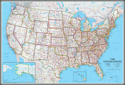 United States US USA Wall Map Poster Classic Blue Edition by Swiftmaps