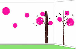 Trees And Circles Baby Room Decal Sticker, Made In Us, 8 Feet Tall, Huge