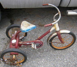 Antique Western Flyer Metal Rubber Boy Toy Tricycle Bicycle Yard Garden Art Tool