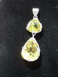 Green Gold Quartz Solid Sterling Silver 925 Double Pendant