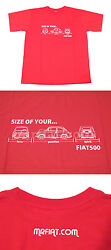 Fiat 500 Red T-shirt New