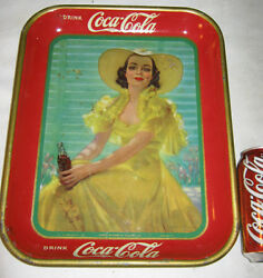 Antique 1938 Coca Cola Metal Art Advertising Soda Tray Lady Bell Hat Flower Sign