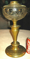 Antique Victorian Cast Iron Brass Art Star Glass Table Oil Lamp Light Sconce Toy