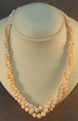 Retro 18k White Gold Ruby And Angel Skin Coral 3 Strand Bead Necklace Or Choker