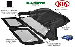 Fits Kia Sportage 1996-2002 Convertible Soft Top Replacement Charcoal Window