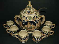 Antique Germany Cover Pottery Stein Looking Juice Tureen W/ 6 Mugs/cups Stunning