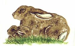 Brown Bunny Rabbit Select-a-size Waterslide Ceramic Decals Bx