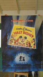 Walt Disney Rare Vintage Huge 63x47 Inch Mickey Mouse Movie Poster French