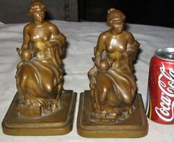 Antique Jennings Brothers C. Vieth Nude Lady Wing Globe Art Statue Book Bookends