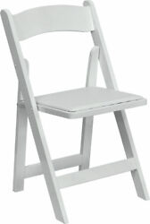 Lot of 200 White Wood Folding Chairs Vinyl Padded Seat