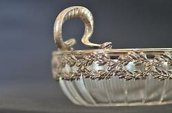 19th German Combination Of Cut Crystal Glass And Silver Fruit / Sweets Bowl Snakes