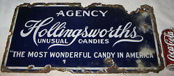 Antique Hollingsworth Agency American Usa Candy Porcelain Art Advertising Sign