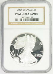 2004 W Us Silver Eagle 1 Pf 69 Ultra Cameo Ngc Graded Coin