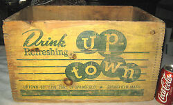 Antique Springfield Ma Up Town Soda Wood Box Bottle Crate Cafe Advertising Sign