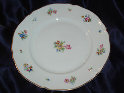 Hutschenreuther The Franklin Dinner Plates 7621 Floral Flowers In Center Gold