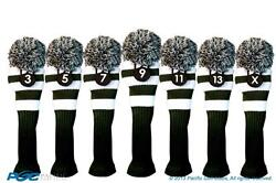 New 3 5 7 9 11 13 X Green White Knit Golf Clubs Headcover Wood Head Covers Set