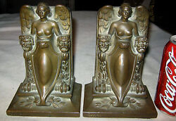 Antique Jennings Brothers Jb Theatre Comedy And Tragedy Art Statue Bookends Bronze
