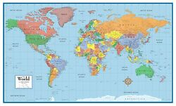 World Classic Elite Wall Map Mural Poster: Paper Laminated Framed