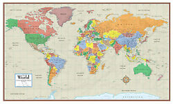 Swiftmaps World Map Contemporary Elite Wall Map Mural Poster
