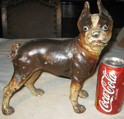 ANTIQUE ALBANY FOUNDRY HEAVY CAST IRON BOSTON TERRIER DOG STATUE DOOR DOORSTOP