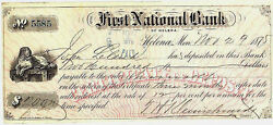Rare 1875 First National Bank Of Helena, M.t. Certificate Of Deposit