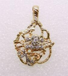 14k Yellow Gold-white Gold Vintage Hand Crafted Diamond Pendant - Lb1921