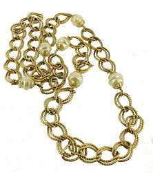 Vintage Mod Stunning Bulky Twisted 3/4 Chain And 3/4 Baroque Pearls Necklace 41