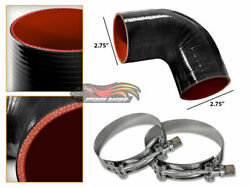 Black Silicone 90 Degree Elbow Coupler Hose 2.75 70 Mm + T-bolt Clamps Hy