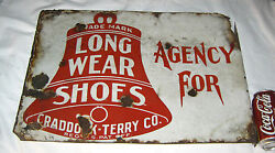 Antique American U.s. Bell Military Soldier Shoe Porcelain Art Advertising Sign