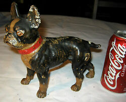 Antique Usa Boston Toy Terrier Cast Iron Dog Statue Sculpture Hubley Doorstop