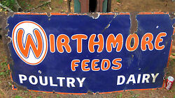 Antique Wirthmore Poultry Chicken Dairy Cow Grain Feed Farm Porcelain Art Sign