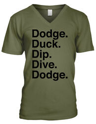 Dodge Duck Dip Dive Dodgeball Rules Movie Funny Humor Patches Mens Vneck T-shirt