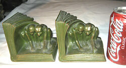 Antique Jb Jennings Brothers Mission Bronze Monkey Art Statue Sculpture Bookends