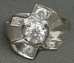 Incredible Rare Vintage Retro Deco Solid 14k White Gold And 1.00 Ctw Diamond Ring