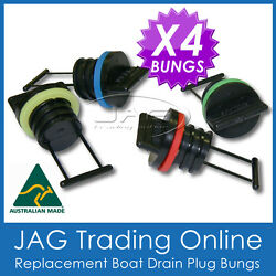 4 X Replacement Bungs Only - Boat/marine Drain Bung Plugs Standard Coarse Thread