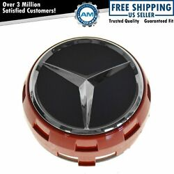 Oem Raised Ember Red And Black Wheel Center Cap For Mercedes Benz New
