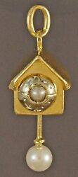Solid 14k Gold And Pearl, Articulated Pendulum Cuckoo Clock Charm, Estate Pendant