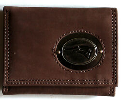 Brown Leather Wallet License Nfl Football New England Patriots Medallion Trifold
