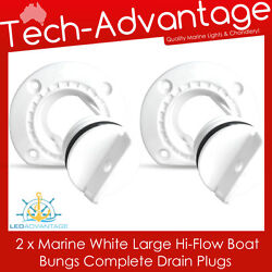2 X White Large Boat Marine Grade Uv-resistant Hi-flow Boat Bung Bungs And Base