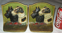 ANTIQUE HUBLEY TERRIER PAINTING DOG CAST IRON ART STATUE SCULPTURE BOOK BOOKENDS