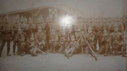 Antique Real Photo German Army Prusian Officers Soldiers Guns Gewehr - 1888 88