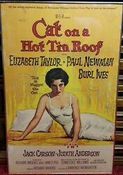 1958 Cat On A Hot Tin Roof Poster Elizabeth Taylor Paul Newman Vtg Old Movie 50s