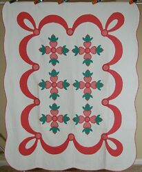 Matched Pair Of 30s Vintage Rose Of Sharon Applique Antique Quilt Best Quilting