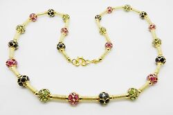 18k Yellow Gold Vintage Ruby Blue And Green Sapphire Necklace 21 Long - Lb2276