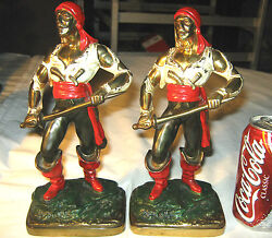Antique Kando Colorful Pirate And Sword Art Statue Sculpture Bookends Gun Knife 6lbs